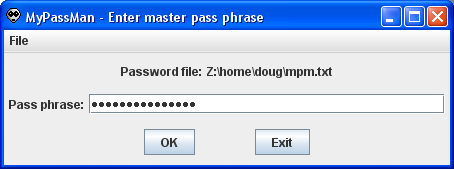 Sample image of MyPassMan pass phrase window